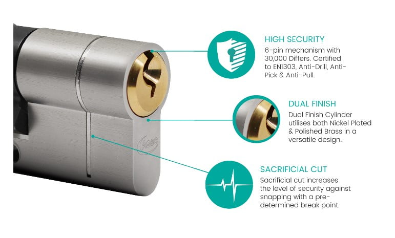 ASEC Vital 6 Pin Double Euro Dual Finish Snap Resistant Cylinder
