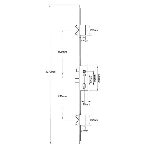 Avocet Timber/Composite Affinity Bastion Latch Deadbolt 4 Hooks Double Spindle 45-92mm
