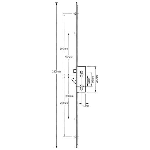 Kenrick Excalibur Latch, Hookbolt and 4 Rollers