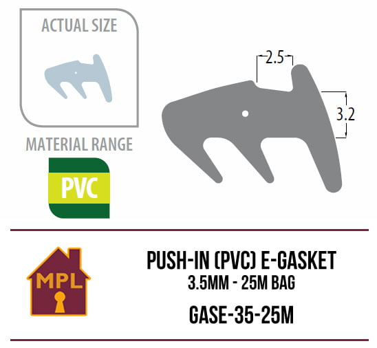 Push-in (PVC Nitrile) E Gasket 3.5mm - 1m