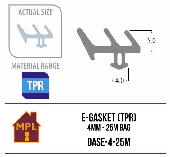 E-Gasket (TPR) 4mm - 1m Bag