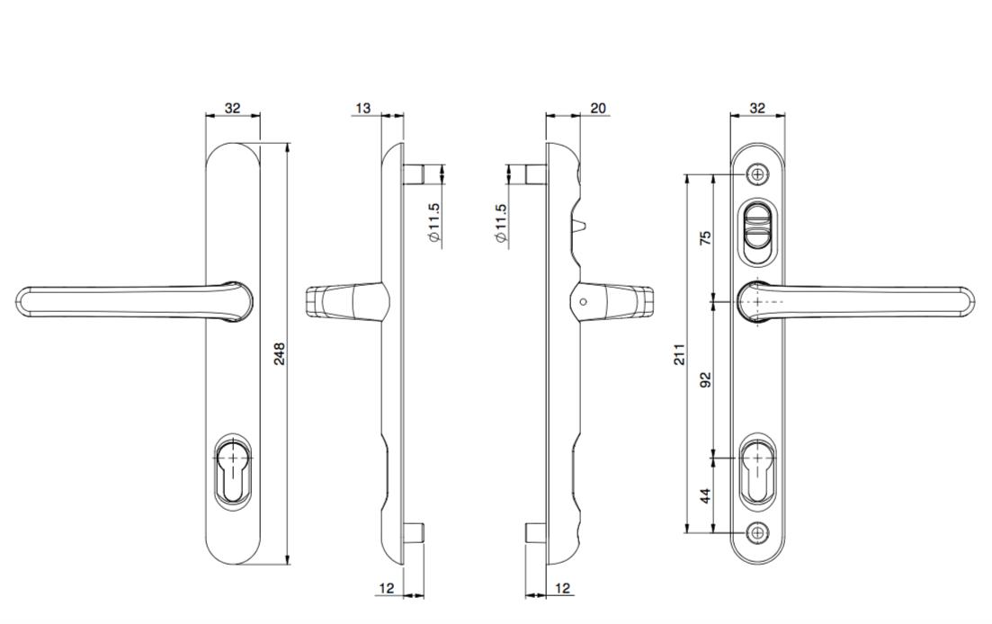 Brisant Lock Lock Handle Gold 211mm Centres