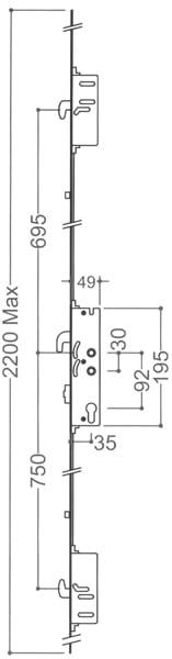Mila 2 Hook 2 Roller 35x92