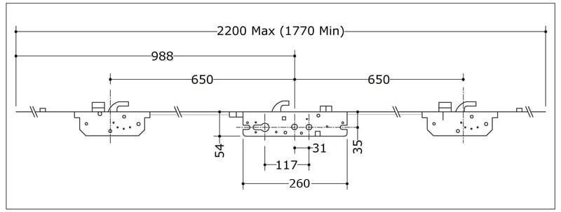 Millenco 3 Hook 2 Deadbolt 2 Roller 35x117
