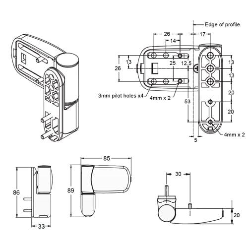 Avocet Triad Mini 3D Hinge - Standard variant