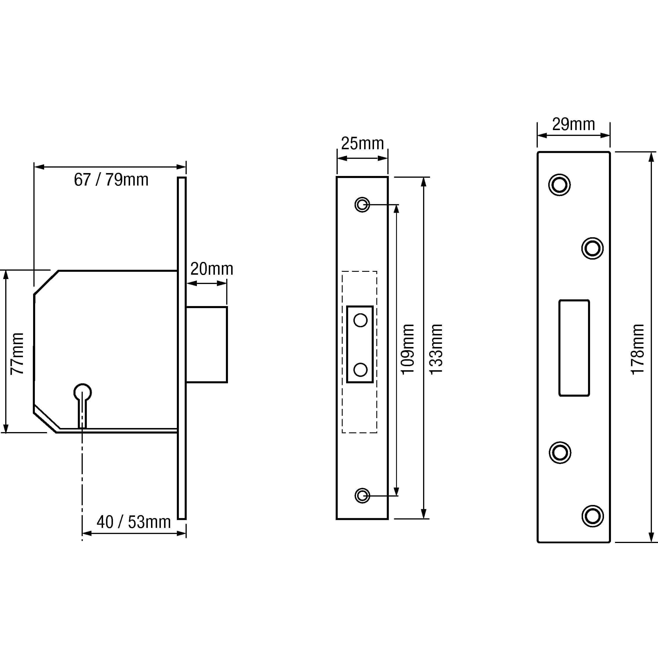 """(Ex Chubb) Union 3G114E British Standard 5 Lever Mortice Deadlock 2.5"""" Brass"""