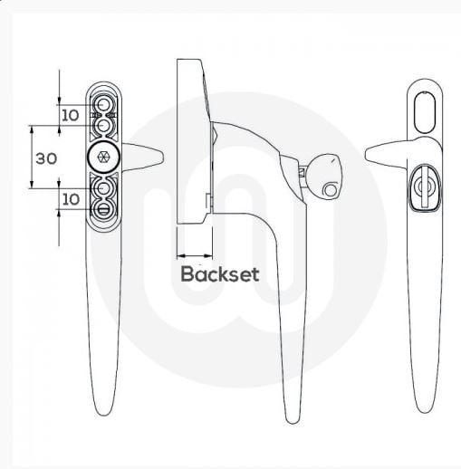 Simplefit Cockspur Window Handle - Locking (Left hand)