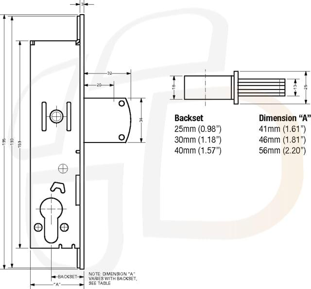 Adams Rite Hookbolt Lock Case 30mm Backset