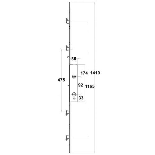 Mila/Yale/Lockmaster/Fearless 4 Hook Inline Patio Door Lock