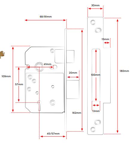 TSS British Standard 5 Lever Mortice Sashlock