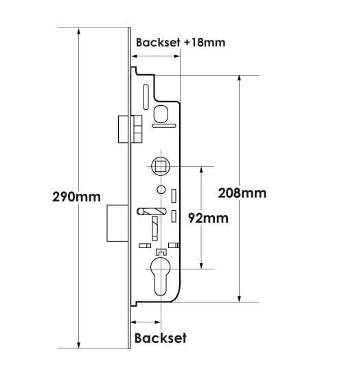 TSS Overnight Lock 30mm - Lift Lever - 16mm Faceplate
