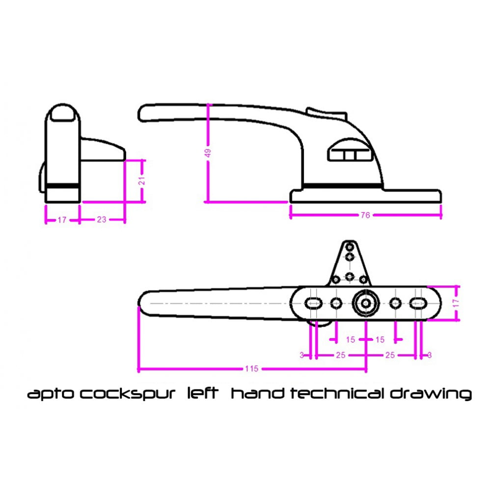 Versa Cockspur Window Handle with Adjustable Step