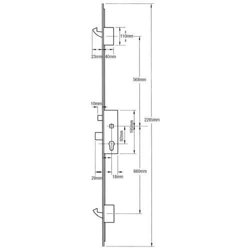 GU / G-U 2 Hook 2 Roller 35x92 - 1225mm Centres Split Spindle