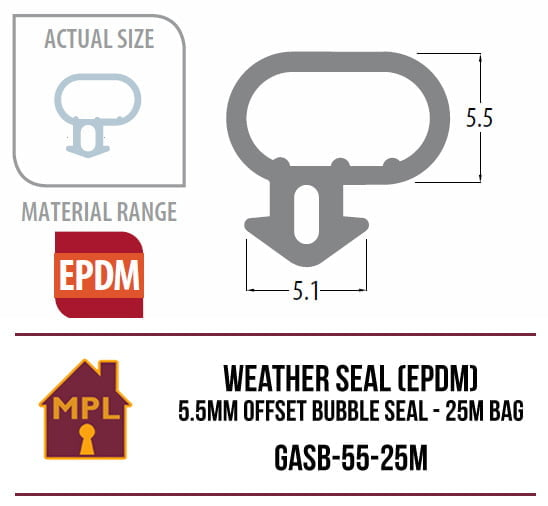 Weather Seal (EPDM) 5.5mm Offset Bubble Seal - 1m