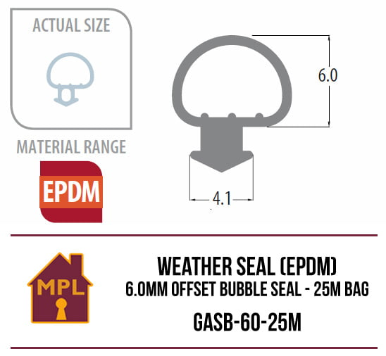 Weather Seal (EPDM) 6.0mm Inline Bubble Seal - 1m Bag
