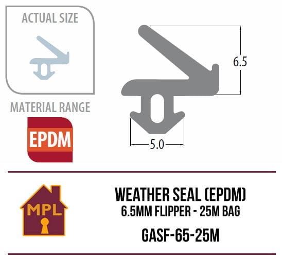 Weather Seal (EPDM) 6.5mm Flipper - 1m Bag