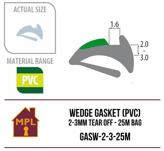 Wedge Gasket (PVC) 2-3mm Tear Off - 1m Bag
