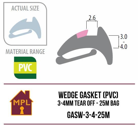Wedge Gasket (PVC) 3-4mm Tear Off - 1m