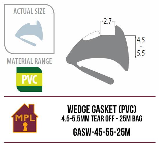 Wedge Gasket (PVC) 4.5-5.5mm Tear Off - 1m Bag