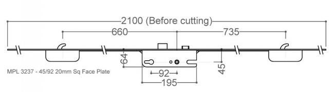 GU / G-U 2 Hook 45x92 (20mm FP)