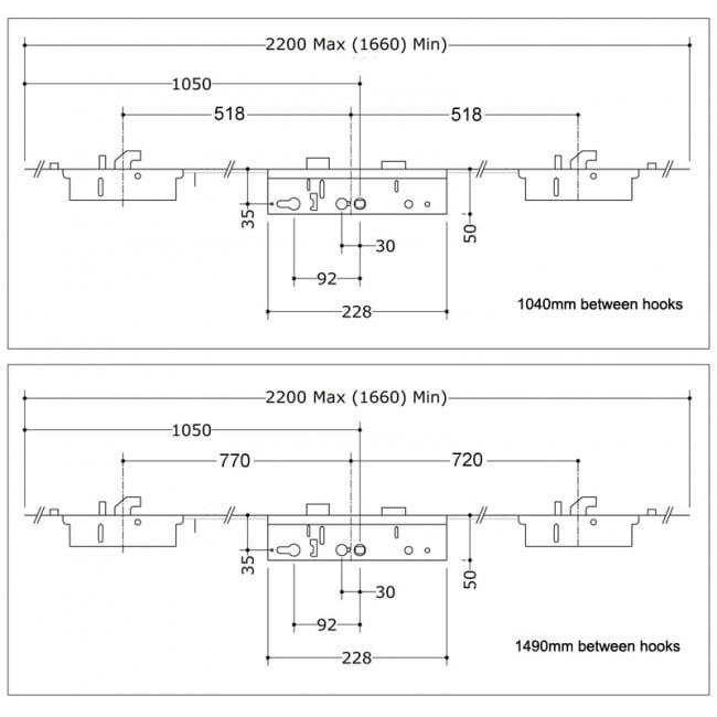 Lockmaster / Mila Master 2 Hook 2 Roller 2 Anti-Lift 35x92